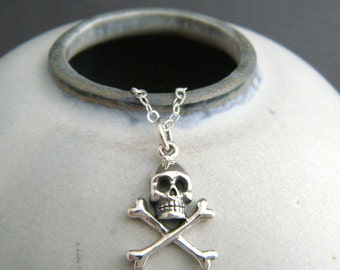 """sterling silver skull crossbones necklace tiny Halloween charm small pirate cross bones simple jewelry delicate pendant dainty gift 5/8"""""""