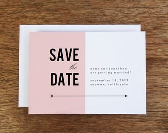 Printable Save the Date Card - Pink Block - Save the Date Template - Instant Download - Save the Date PDF - Pink & Black Save the Date Card