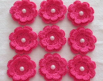 Pink Flower Appliques, Two-Layer Flowers with Beads, Handmade, set of 9