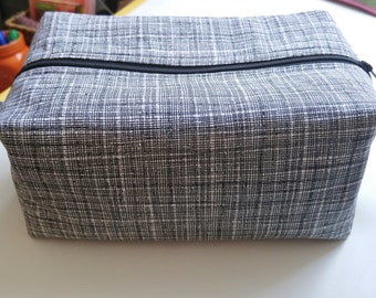 Zipper Pouch, Boxed Zipper Pouch, Black & Gray Travel Case, Man or Woman Travel Case, Toiletry Case, Accessory Case, Man Gift, Woman Gift