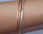 Stacking Bangles - Thin Knotted Bangle Bracelets - 3 Stackable Bangles - Hammered Bangle - Copper - Brass - German Silver - Made to Order