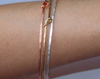 Stacking Bangles - Thin Knotted Bangle Bracelets - 3 Stackable Bangles - Hammered Bangle - Copper - Brass - Sterling Silver - Made to Order