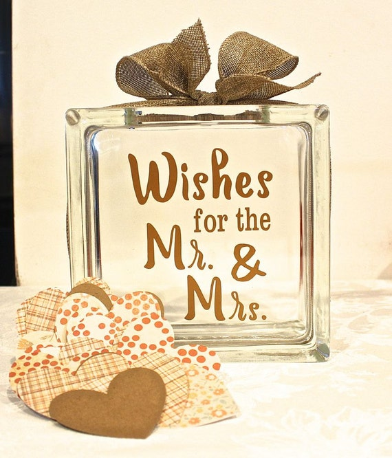 Rustic wedding guest book glass block with wishes for for Glass block alternatives