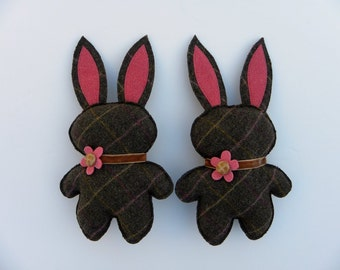 Rescued Wool Bunny Rabbit - Twins Teenie and Tiny - Limited Edition Item