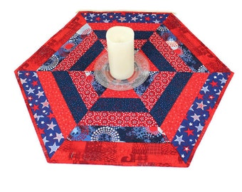Hexagon Patriotic Table Runner Quilt or Patriotic Candle Mat with Red White and Blue Stars, Quiltsy Handmade