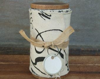 French merchant label ribbon on handmade spool