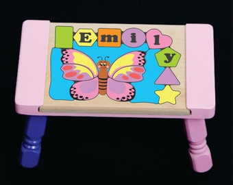In United States Personalized Children Name Pastel Butterfly Theme Puzzle Step Stool Teach Your Preschool Toddler