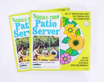 1960s server | Touch & Turn Patio Server floral steel swivel dining lazy susan | vintage 60s server