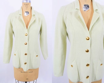1960s cardigan vintage 60s mint green gold button knit sweater M W 35""