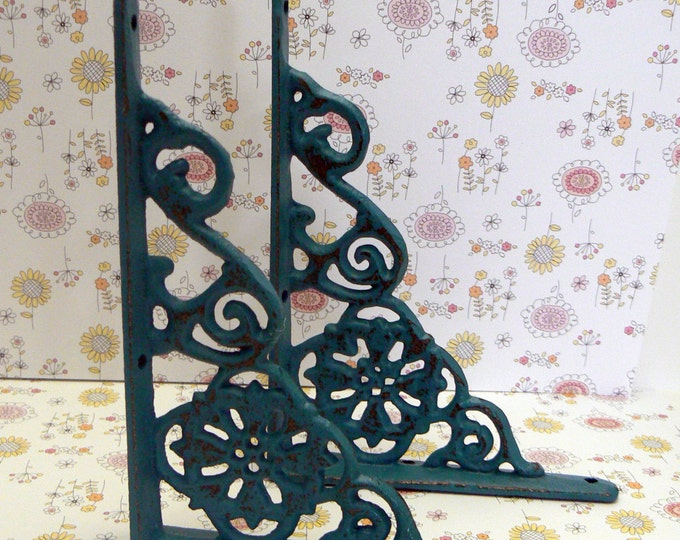 Shelf Bracket Cast Iron Floral Brace Shabby Chic Teal Blue Pair DIY Home Improvement