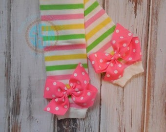 Pink Yellow and Spring Green Striped Leg Warmers with Pink Polka Bows for Baby Toddler Girl