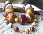 Mookite Jasper Two Strand Sterling Silver and Copper Necklace, Layered Maroon, Purple, Mustard Necklace