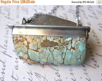 Summer Sale Variscite Specimen Metalwork Pendant Necklace, Extra Long Large Turquoise Stone One of a Kind Necklace