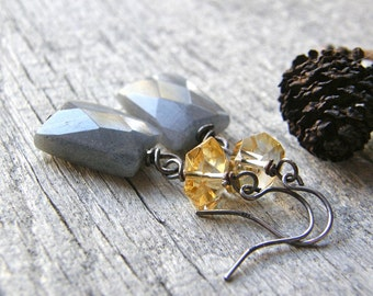Reserved for Lynn-Labradorite and Citrine Gemstone Earrings, Grey and Gold Earrings