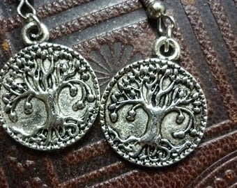 Tree of Life Rustic Earrings,Silver Tree of Life Earrings