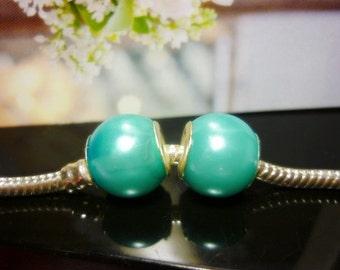 SALE 2 Turquoise Glow Satin Pearl European beads