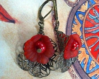 Lucite Flower Earrings, Red Earring, Gift Shop Earrings, Bridesmaid, Antique Brass Filigree, Art Nouveau, Vintage Earrings, My Julie Jewels