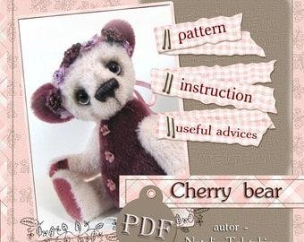 PDF Artists Teddy Bear PATTERN, teddy bear Cherry by NatalyTools, Instant download teddy pattern, soft toy pattern, (10 inch/ 24cm)