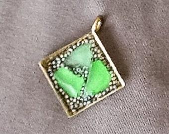 Green sea glass mosaic pendant