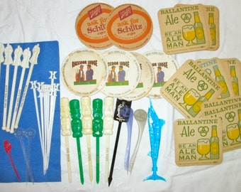 Vintage 50's/60's Cocktail/Bar Memorabilia Lot/46 Pc./Advertising/Schlitz Ballantine Beer Coasters/Swizzle Sticks/ Hotel/Airline/Bar