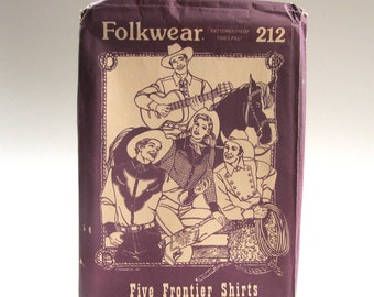 Vintage Folkwear, Western Shirts, Cowboy Shirts, Frontier Shirts, Both Women and Men, Five Styles, Cowboy Lore, Unused, 1981, # 112
