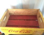 Coca Cola Crate Bottle Case Wood Container Shelf Box Vintage Yellow Red Bottom Wooden Metal Edges