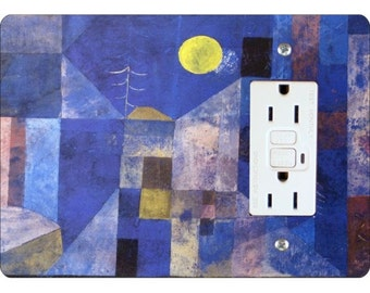 Paul Klee Moonlight Painting GFI Grounded Outlet Plate Cover
