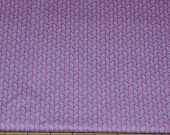 Fat Quarter Breast Cancer Awareness Tiny Pink Ribbons on Pink Background