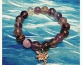 ON SALE Fluorite Bracelet, Fairy Bracelet, Gemstone Bracelet, Purple Bracelet