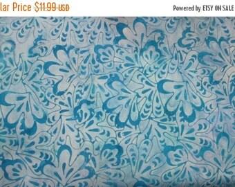 SALE Blue Surf Portulaca Duet Reef Tonga Batik Fabric - Timeless Treasures - B1554