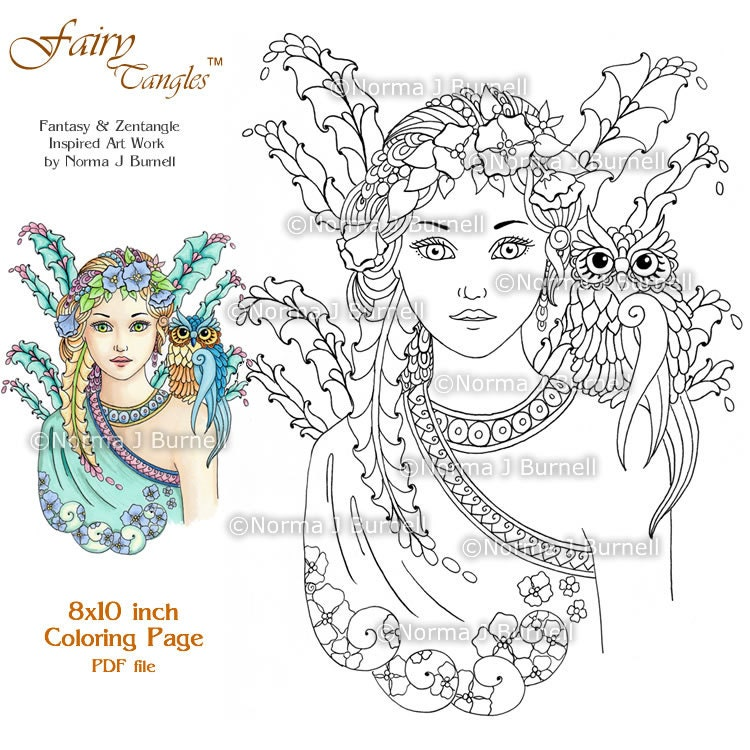 Fairy Tangles Printable Coloring Sheets by Norma J Burnell
