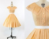 RESERVED 50s Dress Lace Small / 1950s Vintage Peach Cotton Collar Dress / Peach Melba Dress