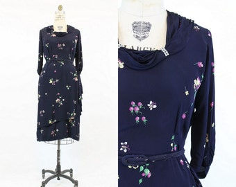 40s Novelty Dress Large / 1940s Vintage Rayon Rhinestone Collar Dress / Butterflies and Bees Frock