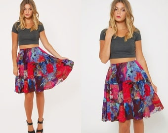 Vintage 80s ABSTRACT Mini Skirt Floral SWING Skirt Colorful PATCHWORK Print Mini Skirt Skater Skirt