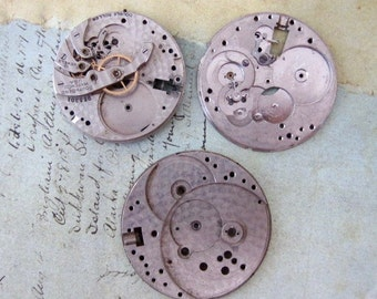 Vintage pocket Watch movement parts - Pocket watch plates Steampunk - Scrapbooking W91