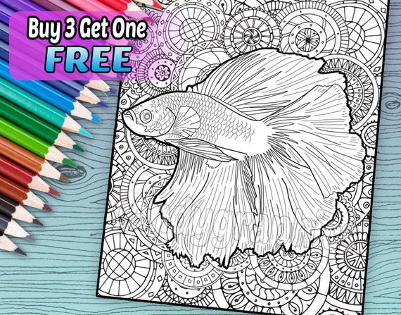 Beautiful Betta Fish Adult Coloring Book Page Printable