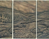 Craftsman Style Three Tile Wild River Landscape Set Decorative Art Tile Set with River and Mountains
