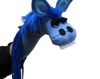 SALE Handmade Blue Horse Sock Puppet  Kid's size