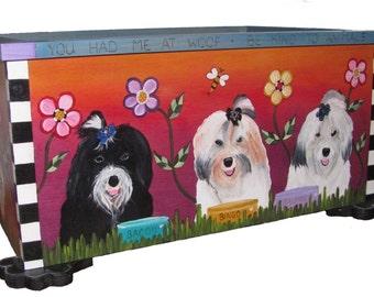 "PET PORTRAIT TOY box - toy box - pet storage - pet toy box  - Custom - dog toys - 24""w x 17""d  x 12""h - custom sizes available - pet toy box"