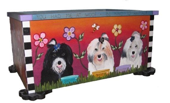 DOG TOY BOX - toy box - pet storage - Custom made Pet toy storage - 24 ...