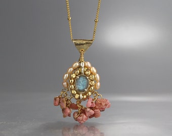Statement Necklace, Bohemian Wedding Jewelry, Labradorite Pendant Necklace, Rhodochrosite Necklace, Unique Cherkes Necklace, Big Pendant