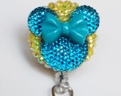 Minnie Mouse Blue Neon Bow And Silhouette ID Badge Reel - Retractable ID Badge Holder - Zipperedheart
