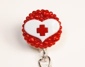 For The Love Of Nursing ID Badge Reel - RN Retractable ID Badge Holder - Zipperedheart