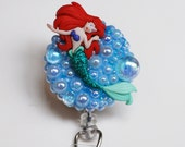 Lovely LIttle Mermaid ID Badge Reel - Retractable ID Badge Holder - Zippers - Zipperedheart
