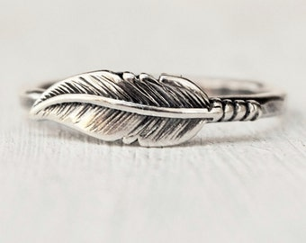 Stacking Feather Sterling Ring  Any Size