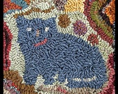 Hooked Rug 100% Wool Antique Rendition Crazy Cats