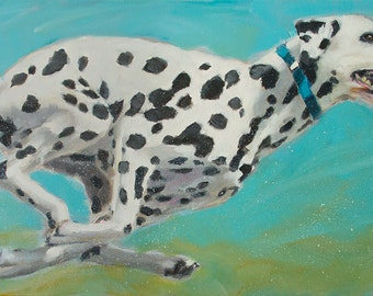 Running Dalmation on Blue, Spots, Agility, High Energy - Original Painting by Clair Hartmann