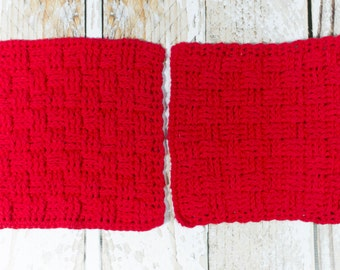 Red Cotton Dishcloth - 100% cotton dishcloth - textured red cotton washcloth - red dishrag - red washrag - housewarming gift
