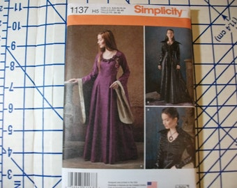 Simlpicity 1137 Misses Game of Thrones style dress pattern two styles sizes 6-14