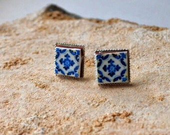 Portugal Blue Antique Azulejo Tile 925 SILVER Post Stud Earrings from Ovar (see photo of actual facade) Gift Box Included 621 S